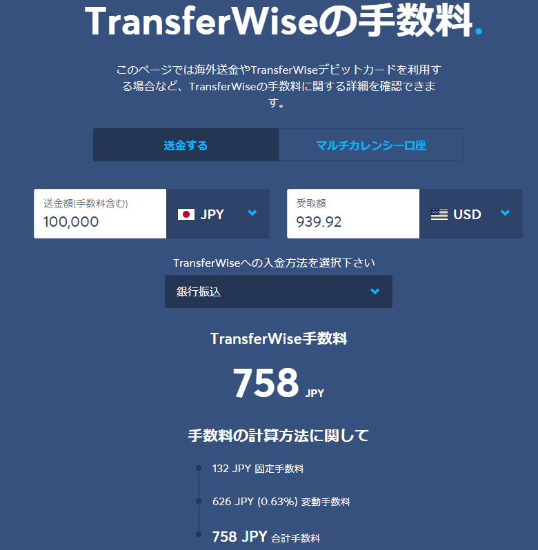 TransferWiseの手数料表示画面